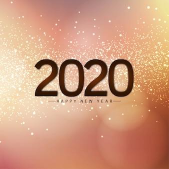 Feliz año nuevo 2020 tarjeta brillante brilla