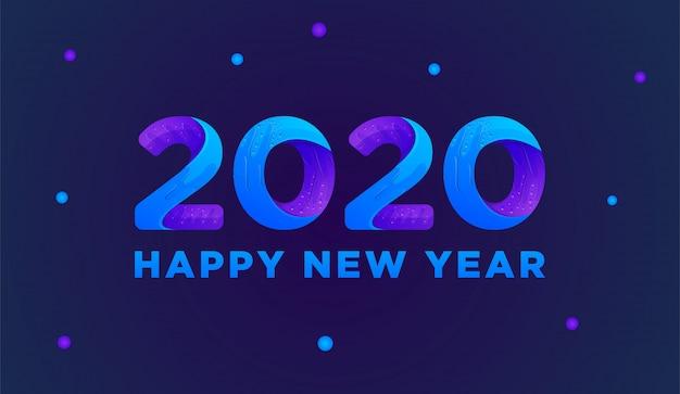 Feliz año nuevo 2020 tarjeta de felicitación colorida vector