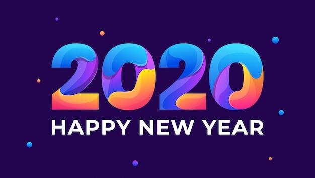 Feliz año nuevo 2020 tarjeta de felicitación colorida