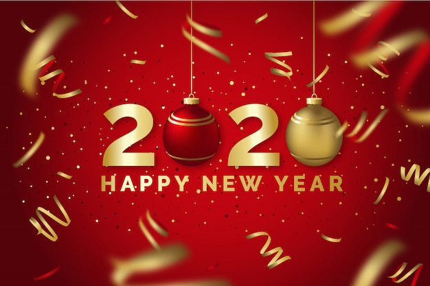 Feliz año nuevo 2020 tarjeta de felicitación roja y dorada