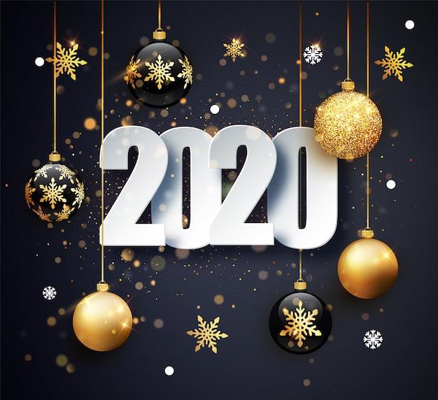 Feliz año nuevo 2020 tarjeta de felicitación