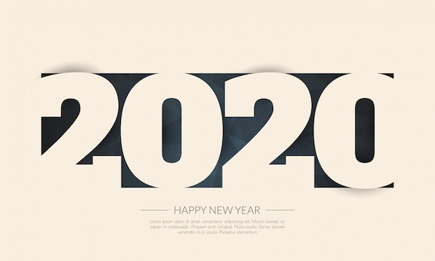 Feliz año nuevo 2020 tarjeta de felicitaciones. resumen