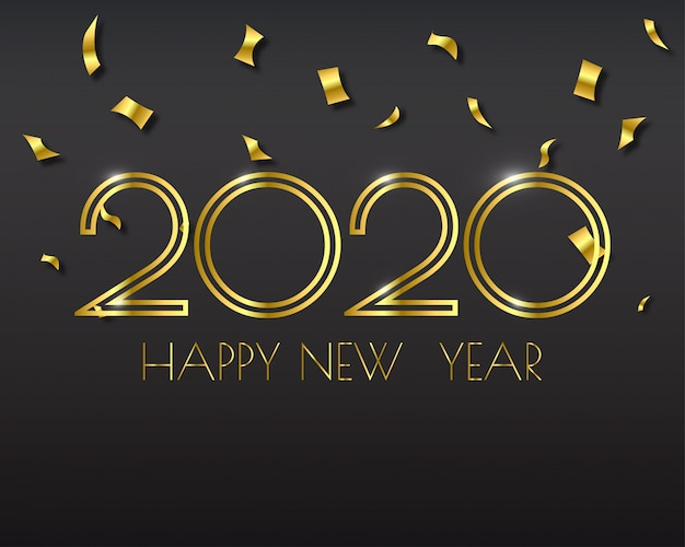 Feliz año nuevo 2020 tarjeta de felicitaciones. resumen . .