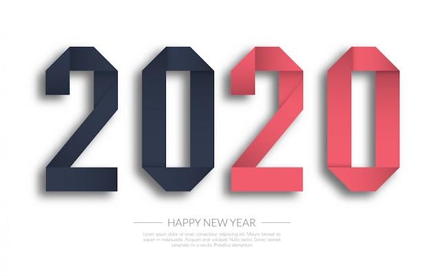 Feliz año nuevo 2020 tarjeta de saludos
