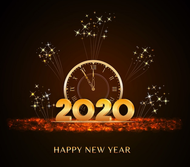 Feliz año nuevo 2020, texto de año nuevo con números 3d dorados y reloj vintage con brillo navideño