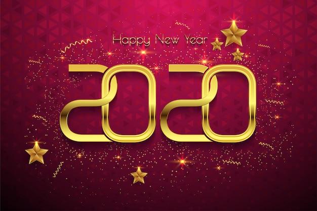 Feliz año nuevo 2020 texto dorado sobre fondo rojo