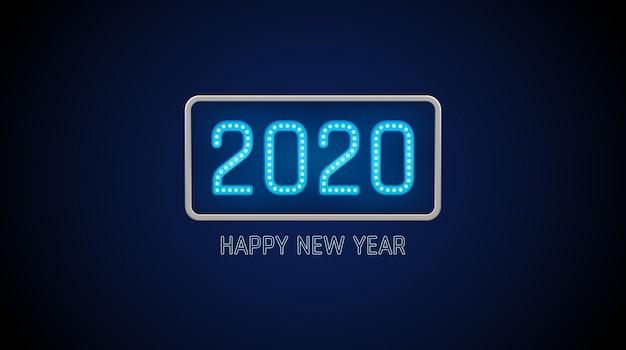 Feliz año nuevo 2020 texto en tablero de bombilla con neón brillante sobre fondo de color azul