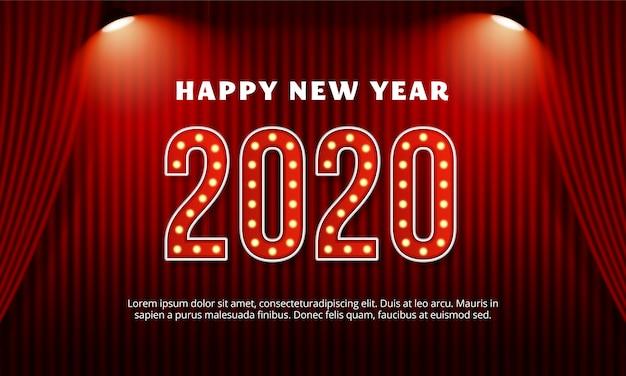 Feliz año nuevo 2020 texto de tipografía de cartelera con cortina roja en el escenario del teatro