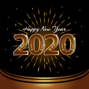 Feliz año nuevo 2020 vector fondo