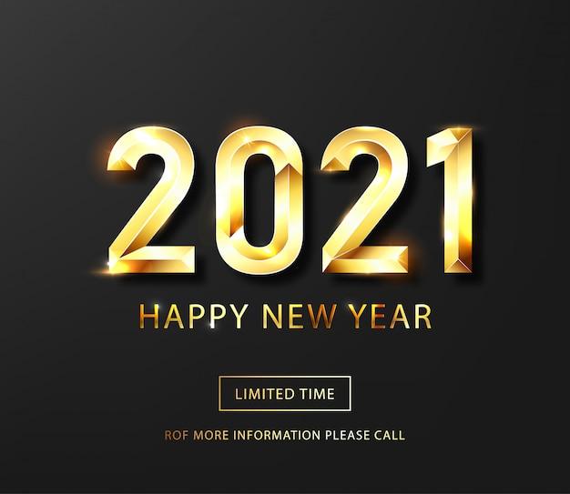 Feliz año nuevo 2021 banner. texto de lujo vector dorado 2021 feliz año nuevo.