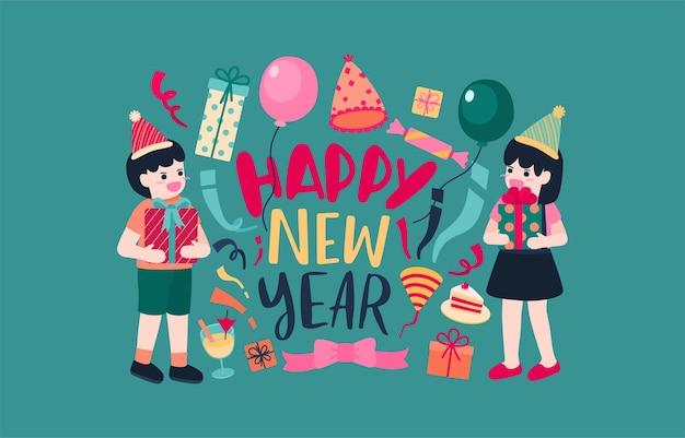 Feliz año nuevo 2021 cartel de fiesta o pancarta con iconos de caja de regalo