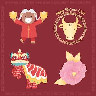 Feliz año nuevo 2021 chino, buey, dragón, iconos de flores