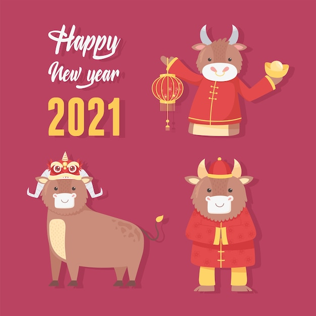 Feliz año nuevo 2021 chino, tarjeta de felicitación temporada de personajes de bueyes