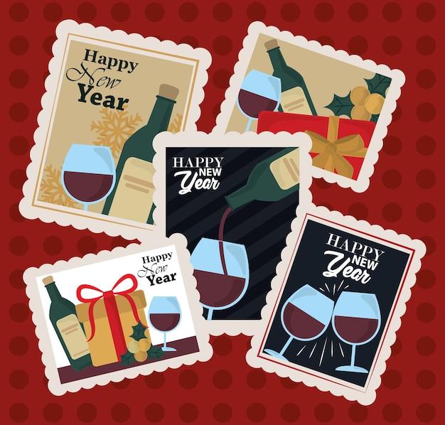 Feliz año nuevo 2021, colección de iconos de sello postal con botella de vino