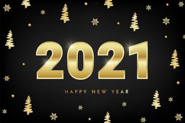Feliz año nuevo 2021 concepto de diseño con números de oro