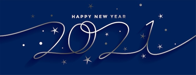 Feliz año nuevo 2021 diseño de banner de estilo de línea plateada