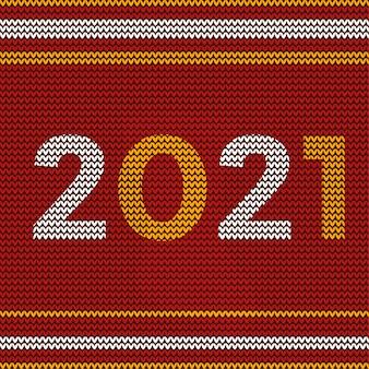 Feliz año nuevo 2021 diseño con diseño de patrón textil navideño