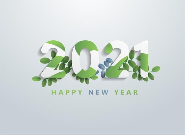 Feliz año nuevo 2021 diseño de fondo con elementos.