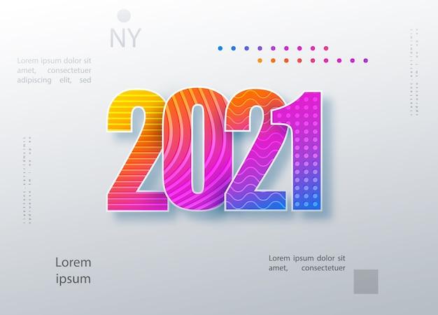 Feliz año nuevo 2021 diseño de texto de logotipo de color. portada del diario comercial para 2021 con deseos
