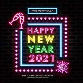 Feliz año nuevo 2021 efectos de texto neón