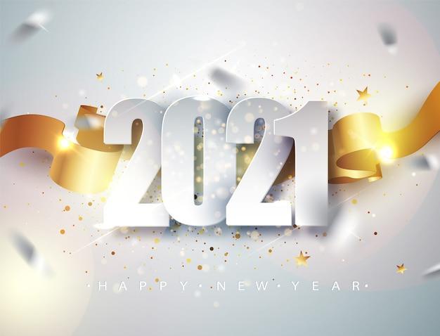 Feliz año nuevo 2021. elegante plantilla de diseño de tarjeta de felicitación de vacaciones de invierno