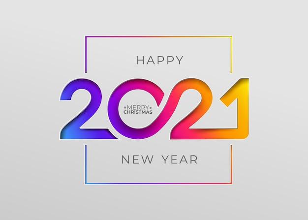Feliz año nuevo 2021 elegante tarjeta en papel para tus vacaciones de temporada.