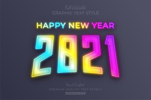 Feliz año nuevo 2021 estilo de fuente de efecto de texto editable de neón degradado