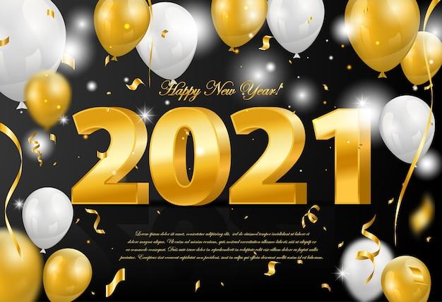 Feliz año nuevo 2021 fondo con globos dorados y blancos y confeti dorado