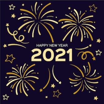 Feliz año nuevo 2021 con fuegos artificiales dorados.
