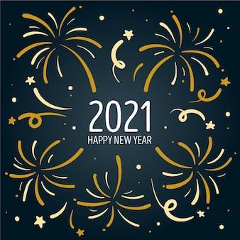 Feliz año nuevo 2021 con fuegos artificiales
