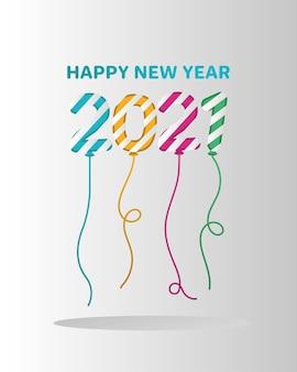 Feliz año nuevo 2021 globos a rayas, bienvenida a celebrar y saludo.