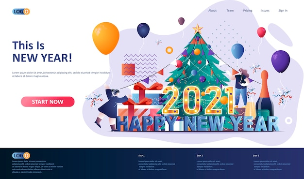 Feliz año nuevo 2021 ilustración de plantilla de página de destino