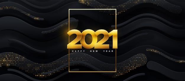 Feliz año nuevo 2021. ilustración de vacaciones. números dorados de papercut sobre fondo geométrico negro. banner de evento festivo.
