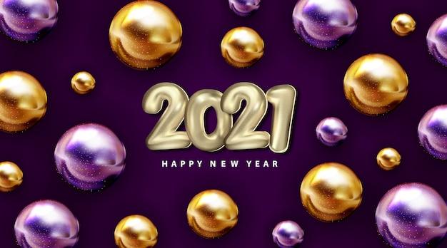 Feliz año nuevo 2021 ilustración de vacaciones números de papel plateado 2021 con bolas de oro púrpura letrero 3d realista