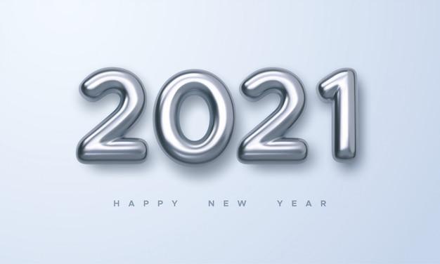 Feliz año nuevo 2021. ilustración de vacaciones de oro metálico números 2021. muestra realista 3d. cartel festivo o diseño de pancarta