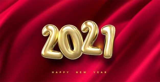Feliz año nuevo 2021. ilustración de vacaciones de oro metálico números 2021. tejido sedoso rojo oscuro. fondo abstracto.