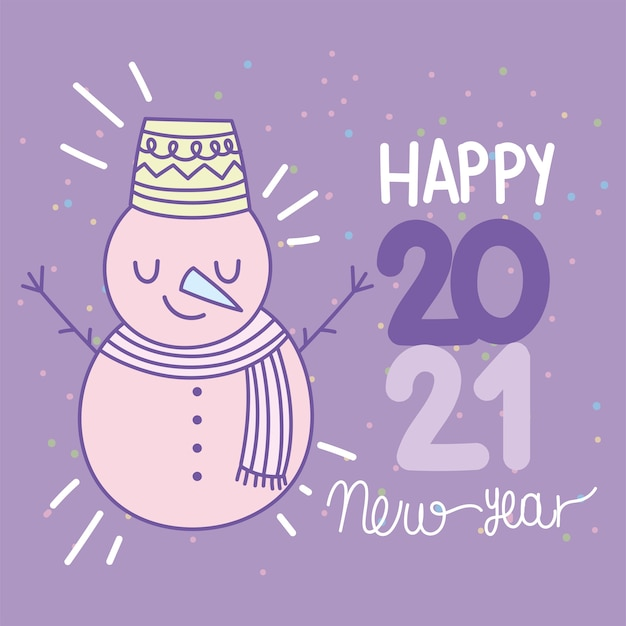 Feliz año nuevo 2021, lindo muñeco de nieve con texto