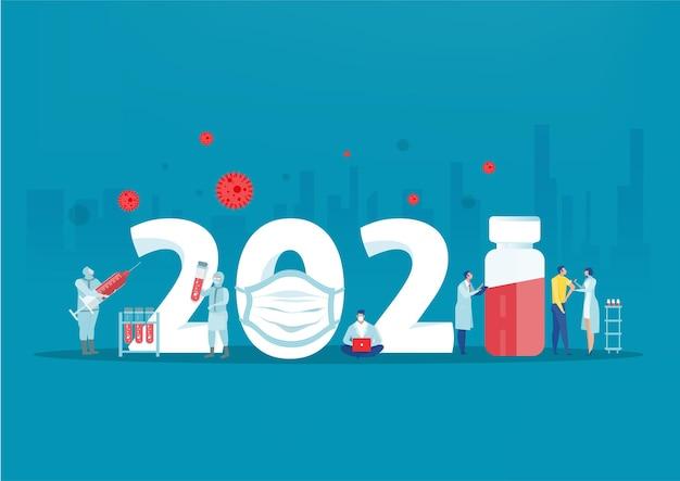 Feliz año nuevo 2021 nueva normalidad después de la ilustración de la pandemia covid-19