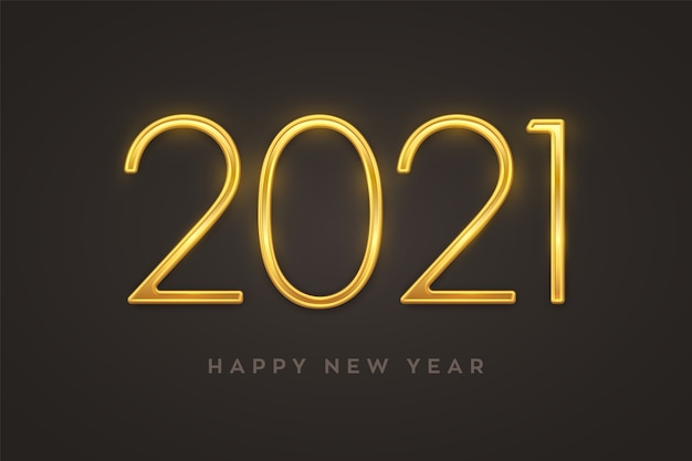 Feliz año nuevo 2021. números de lujo metálico dorado 2021. signo realista para tarjeta de felicitación.