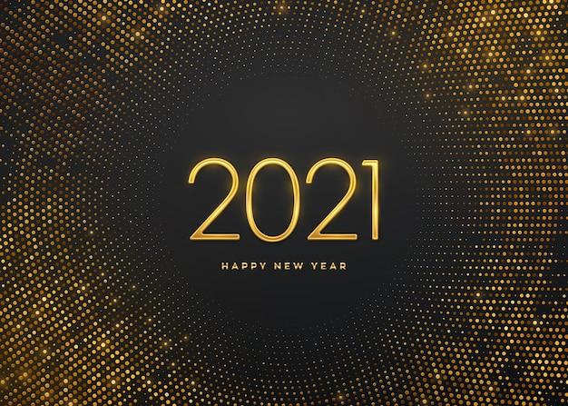 Feliz año nuevo 2021. números de lujo metálico dorado 2021 sobre fondo brillante. fondo lleno de brillos.