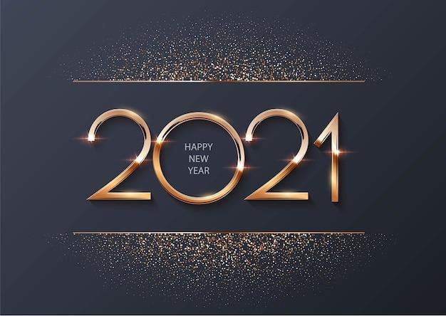 Feliz año nuevo 2021 con partículas doradas