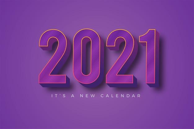 Feliz año nuevo 2021 plantilla colorida violeta degradado para calendario
