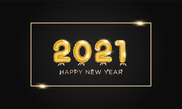 Feliz año nuevo 2021 con plantilla de fondo estilo globo dorado