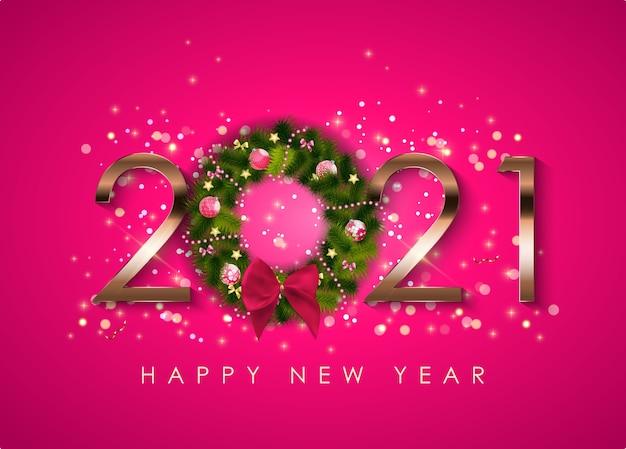 Feliz año nuevo 2021 plantilla de fondo de vacaciones.