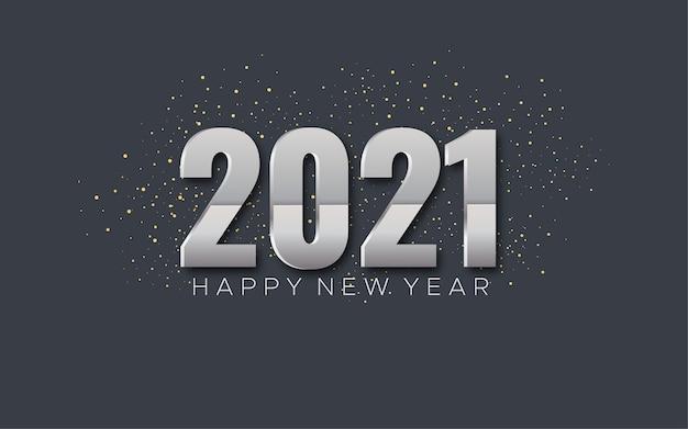 Feliz año nuevo 2021, plantilla de saludo de año nuevo