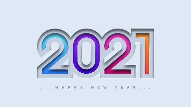 Feliz año nuevo 2021 tarjeta de felicitación con un colorido diseño moderno