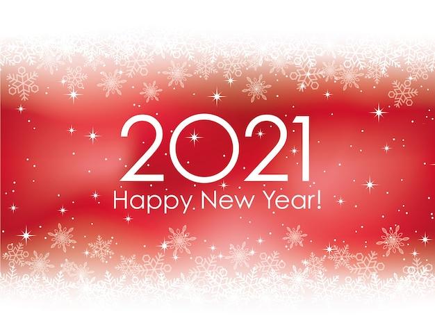 Feliz año nuevo 2021 tarjeta de felicitación con copos de nieve
