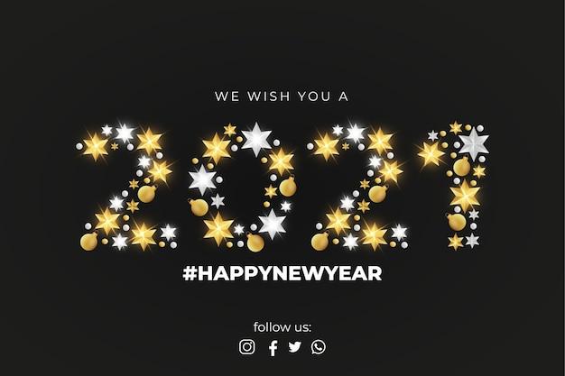 Feliz año nuevo 2021 tarjeta de felicitación con elegante decoración navideña