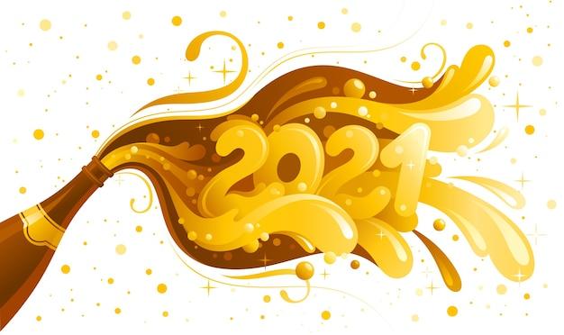 Feliz año nuevo 2021 y tarjeta de felicitación feliz navidad. banner de vacaciones con botella de champagne y número 2021.