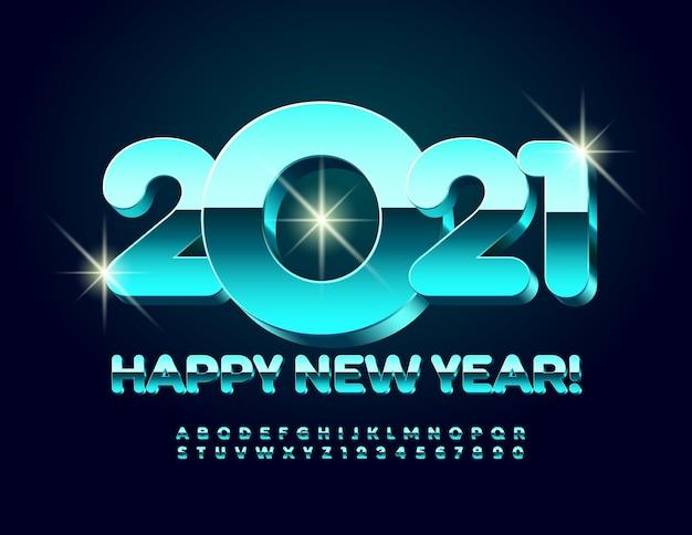 Feliz año nuevo 2021 tarjeta de felicitación. fuente moderna 3d. números y letras del alfabeto metálico